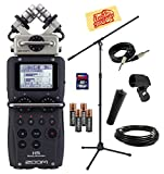 Zoom H5 Handy Recorder Bundle with Mic Stand, MA-2 Mic Stand Adapter, Mic Cable, Instrument Cable, SD Card, AA Batteries, and Polishing Cloth