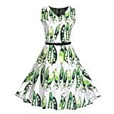 Vibola Women Dress Clearance Vintage Classy Floral Sleeveless Party Picnic Party Cocktail Dress with Belt (L, Green)
