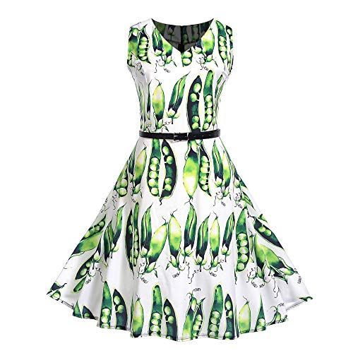 Hot Sale Women Evening Party Dress DEATU Ladies Vintage Elegance Printing Sleeveless V Neck Prom Swing Dress with (Green Athens Polyester)