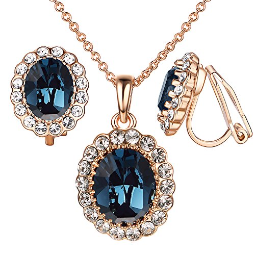 hire Jewelry Set for Women Oval Blue Crystal Rose GP Clip Earrings&Necklace ()