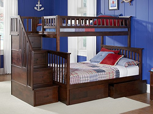 (Columbia Staircase Bunk Bed with 2 Flat Panel Bed Drawers, Twin Over Full, Antique Walnut)