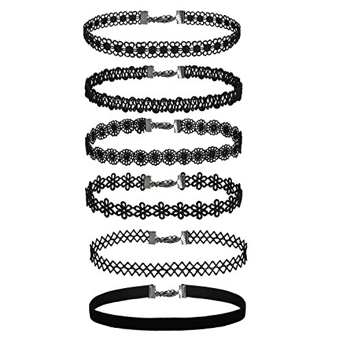 6 Pieces Chokers Gothic Tattoo Lace Choker Necklaces Velvet Classic Lace Collar