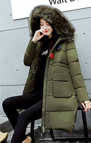 Women Coat Con Long Bigood Parka Slimming Ladies Invernale Militare Verde Cappuccio Thick Down qwxnw1CSdp