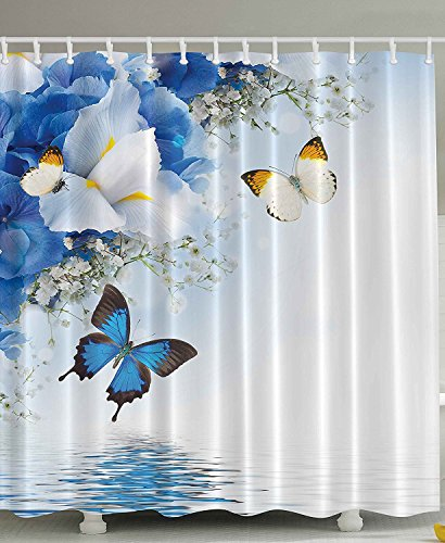 [Fabric Shower Curtain Resort Spa Home Decor Blue White Wild Flowers Monarch Yellow Butterflies Theme Lily Therapy Zen Reflection Floral Bathroom Lake House Decor Art Prints] (Blue Monarch Butterfly Costume)