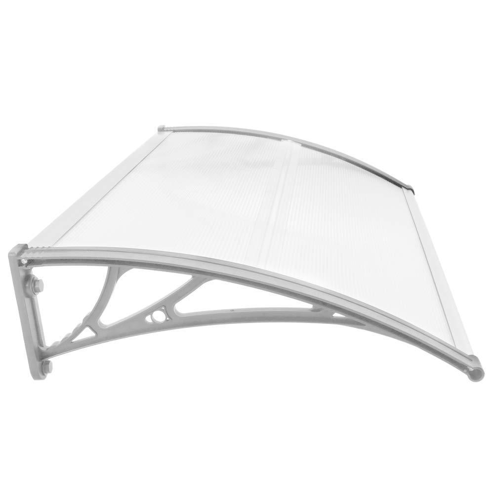 Vordach 80x60 cm transparent T/ürdach /Überdachung mit weisser St/ütze PrimeMatik