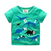 Todaies Toddler Kids Baby Boys Clothes Short Sleeve Dinosaur Print Tops T-Shirt Blouse 3 Colors 2018 (2-3T, Green)