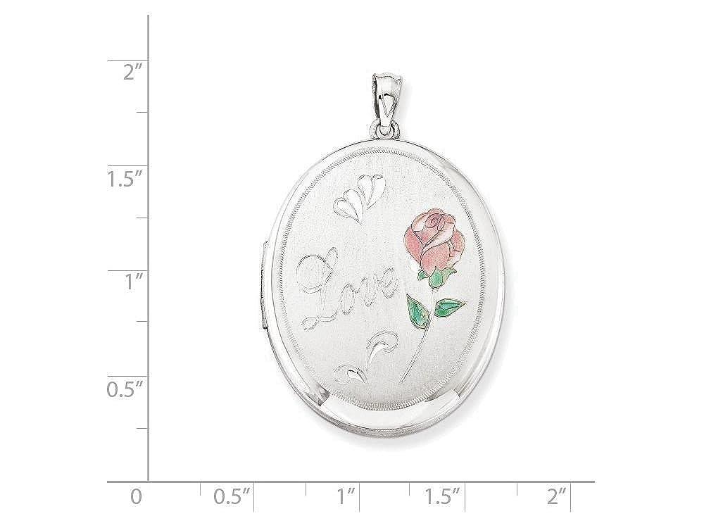 Finejewelers Sterling Silver Love W//Enamel Rose 34mm Oval Locket Necklace