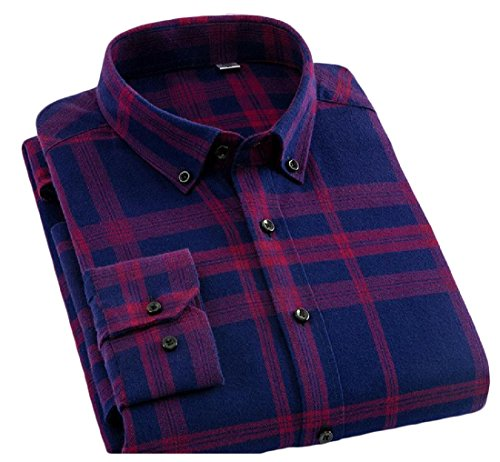 Kankanluck Mens Comfort Solid Non-Iron Business Oversized Autumn Grid Shirt 11 XL