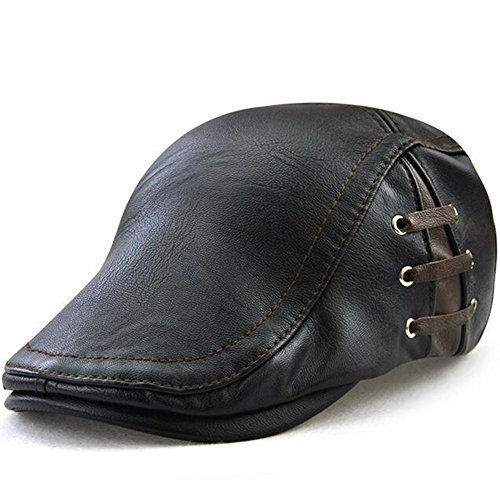 - GESDY Men's Vintage Newsboy Cap PU Leather Ivy Flat Gatsby Hat Winter Golf Driving Hats Lace-up Beret Caps Black