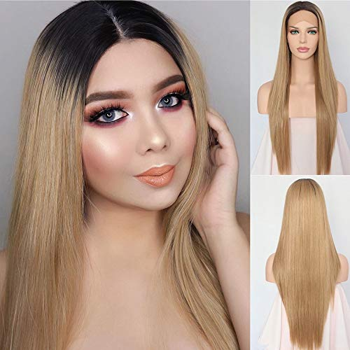 QD-Udreamy Ombre 4# Hair Roots To Ash Blonde Heat Resistant Natural Hair Wigs Straight Synthetic Lace Front Wig For Women Daily Wear 24inch