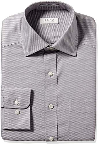 Enro Men's Ashbury Check Non-Iron Classic Fit Dress Shirt, Gray 170 x 32/33