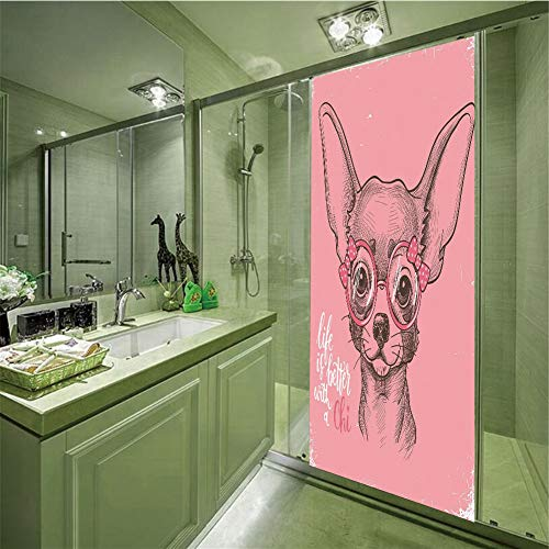 iPrint No Glue Static Cling Glass Sticker,Dog,Girl Chihuahua Sketch Illustration with Quote Fashion Glasses Ribbons Puppy Decorative,Pale Pink Army Green,35.43