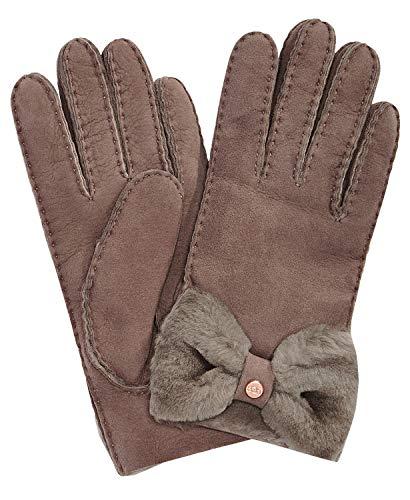 UGG Women's Bow Shorty Water Resistant Sheepskin Gloves Stormy Grey LG