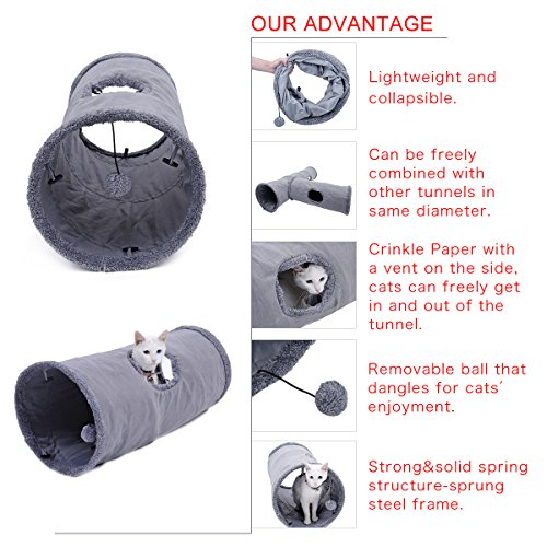 Speedy Pet Collapsible Cat Tunnel, Cat Toys Play Tunnel Durable Suede Hideaway Pet Crinkle Tunnel with Ball,12 inch diameter S by Speedy Pet (Image #2)