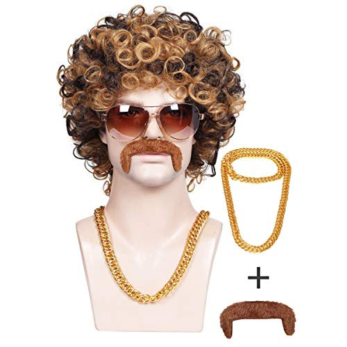 ColorGround 3-Pieces Chain and Moustache and Short Curly Wig for High-end 70'S Disco Party