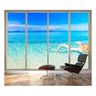 Alluring Artisanship, Premium Product, Large Wall Mural Tropical Beach Seen Through Sliding Glass Doors 3D Visual Effect Vinyl Wallpaper Removable Decorating