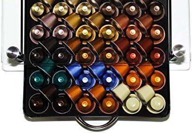 Fusoris - Cajón in vidrio templado e metalo almacenar cápsulas de Nespresso Soporte Contenedor de almacenamiento gaveta bandejas: Amazon.es: Hogar