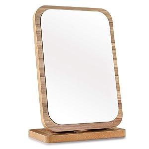 Tinland Makeup Mirror Wood Frame Rustic Finish for Vanity Set Dresser Bedroom Bathroom Decorative Countertop Stand Mirror Adjustable Angle(Brown)