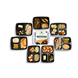 3 Compartment BPA Free Meal Prep Containers. Reusable Plastic Food Containers with Lids. Stackable, Microwavable, Freezer & Dishwasher Safe Bento Lunch Box Set + EBook (7, 3 Comp Raised Lids)