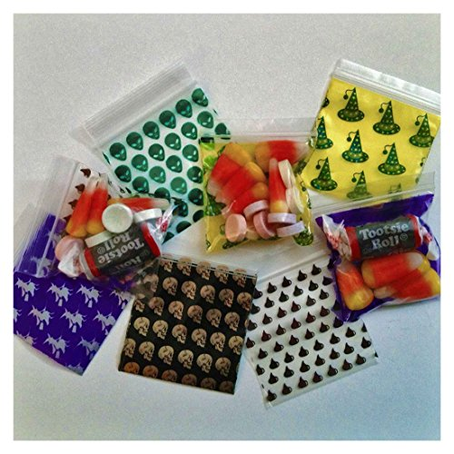 2020 Apple Trick or Treat Mix 100 Ziplock Bags Poly Plastic Halloween Designs -