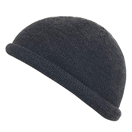 ililily Solid Color Knitted Vintage Short Beanie Soft Hat Casual Cap Dark Grey
