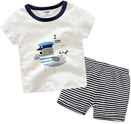تی شرت های آستین کوتاه پسرانه Evelin LEE و شلوار راه راه 2 قطعه لباس را تنظیم کنید