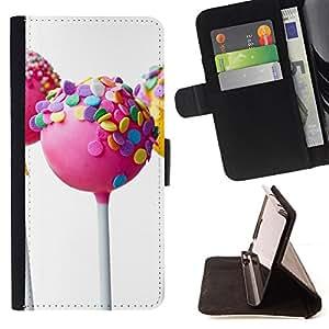- PINK LOLLIPOP SWEET WHITE CANDY - - Prima caja de la PU billetera de cuero con ranuras para tarjetas, efectivo desmontable correa para l Funny HouseFOR Samsung Galaxy S4 Mini i9190