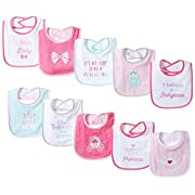 Luvable Friends Baby Drooler Bibs with Waterproof Backing, 10 Pack, Princess, One Size