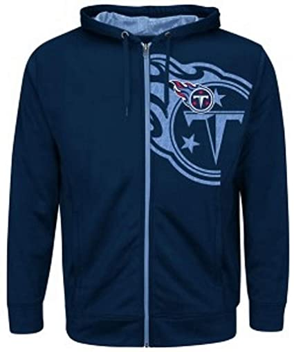 8102338f4df Tennessee Titans NFL Mens Majestic Coverage Sack Full Zip Hoodie Navy Blue  Big Sizes (5XL