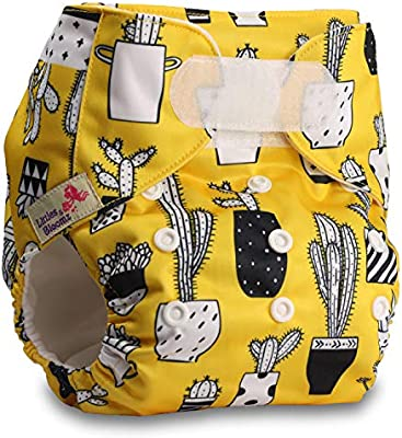 Set of 1 Littles /& Bloomz Reusable Pocket Cloth Nappy Fastener: Hook-Loop Pattern 58 with 2 Bamboo Charcoal Inserts
