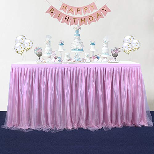 14FT Pink Table Skirt Tulle for Round or Rectangle Tables Dessert Tutu Table Skirting for Wedding Baby Shower Birthday Party Decorate,Table Skirting(L167InchH30Inch) -