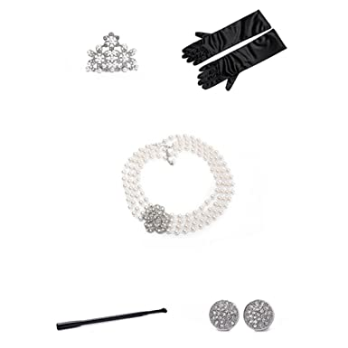 Audrey Hepburn Breakfast at Tiffany's Pearl Jewelry and Accessory Set flapper Costume for Women xblH1hyRi