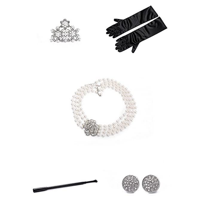 675ee1c9c94e7 Audrey Hepburn Breakfast at Tiffany's Costume Pearl Jewelry and Accessory  Set/Flapper Dresses for Girls