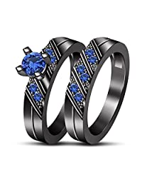 TVS-Jewels Comfort Fit Solid Gift Pure 925 Silver Black Rhodium Plated Wedding Bridal Ring Set for Women