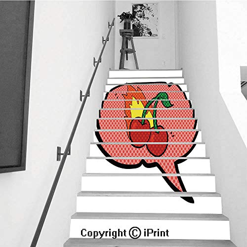 baihemiya stickers 13Pcs Stair Sticker Decals 3D Creative Building Stair Risers Tiles Wallpaper Mural Self-Adhesive,Comic Book Speech Bubble Cartoon Flaming Cherries (Flaming Cherries)