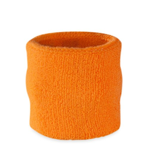 [Suddora Wrist Sweatband Also Available in Neon Colors - Athletic Cotton Terry Cloth Wristband for Sports (Neon Orange)(1 Piece)] (Best Marathon Running Costumes)