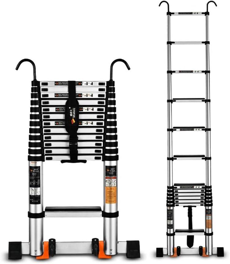 XIA 5,9 telescópica recta Escalera, elevación engrosada, aleación de aluminio plegable individual Escalera con gancho Ingeniería ático (Size : 2.7m): Amazon.es: Bricolaje y herramientas