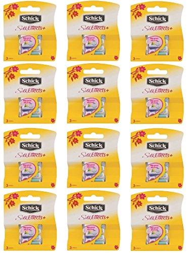 Schick Silk Effects+ Plus Refill Cartridges, 3 Count (Pack of 12) + Makeup Blender Stick, 12 Pcs