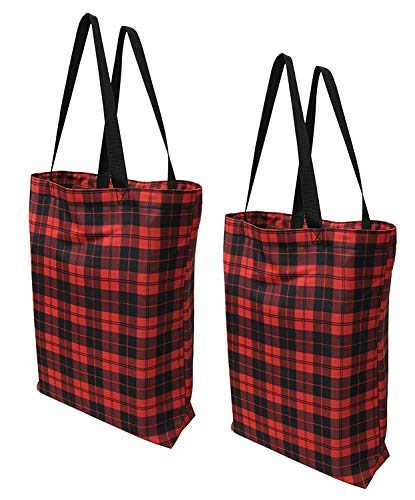 Earthwise Plaid Everyday Reusable Fashion Shopping Bag Tote Large for Grocery Gift Vacation 17 inches x 17 inches x 6 inches Proudly MADE IN THE USA (Set of 2) (Plaid) ()