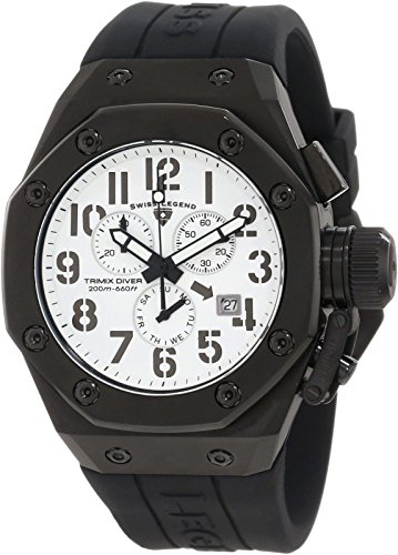 Swiss Legend 10542-BB-02 Men's Trimix Diver Chronograph Watch White w/ Black Case & Black Silicone Strap