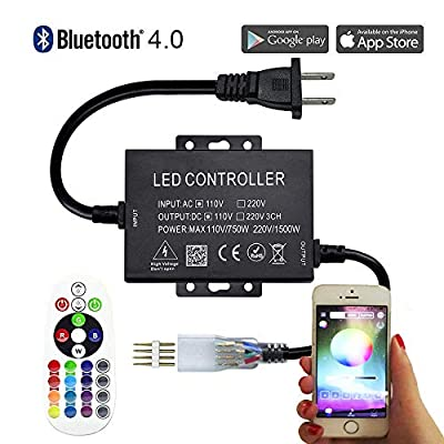 LED Controller High-Voltage Bluetooth RGB Controller 110VAC 750W 24Key Remote Control for AC110V 164FT Outdoor LED Strip Lights Work with iOS & Android Music Time Control System
