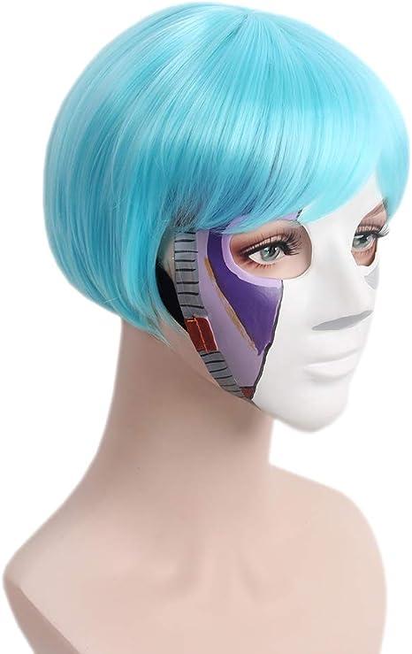 STfantasy Pelucas de cara azul con flequillo dos coleta corto disfraz peluca para mujeres niñas cosplay fiesta anime