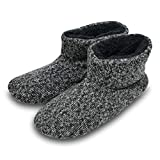 Knit Rock Wool Warm Men Indoor Pull on Cozy Memory Foam Slipper Boots Soft Rubber Sole Grey