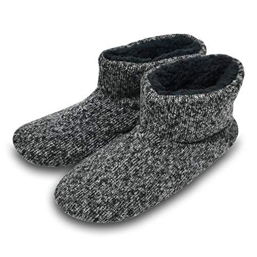 (Knit Rock Wool Warm Men Indoor Pull on Cozy Memory Foam Slipper Boots Soft Rubber Sole Grey)