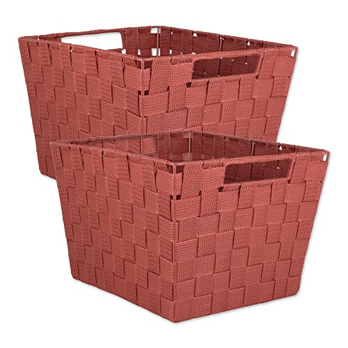 (DII Durable Trapezoid Woven Nylon Storage Bin or Basket for Organizing Your Home, Office, or Closets (Large Basket - 13x15x10