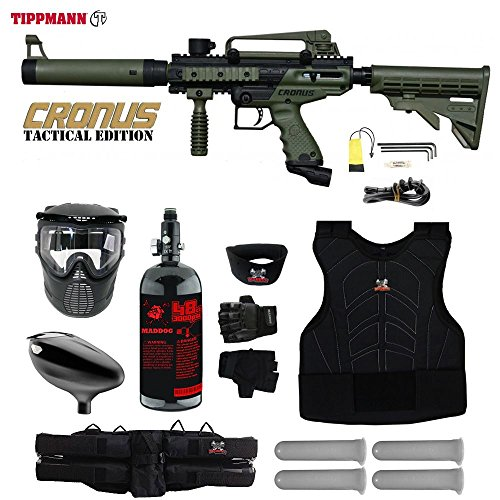 MAddog Tippmann Cronus Tactical Starter Protective HPA Paintball Gun Package - Black/Olive