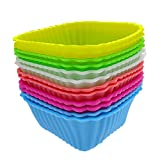 PIAGO 1 Pack/5 Pcs Square Silicone Oven Budding Ice Cream Cake Candy Making Moulds Cake Pans Handmade DIY Chocolate Muffin Cupcakes Molds Pack