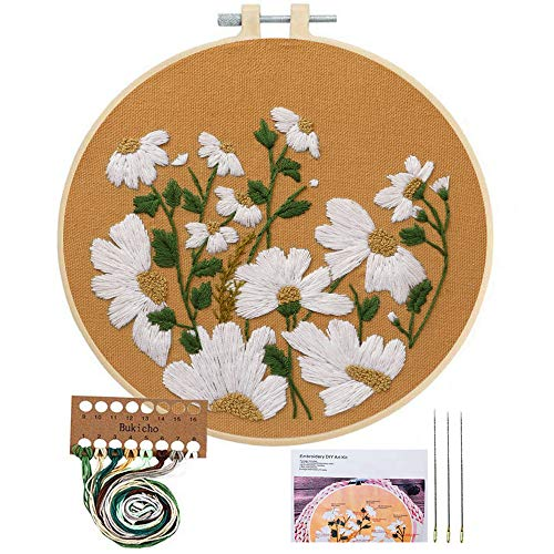 Embroidery Starter Kit with Pattern, Cross Stitch Kit Include Stamped Embroidery Clothes with Floral Pattern, Plastic Embroidery Hoops, Color Threads and Tools Needlepoint Kits (Little Chrysanthemum)