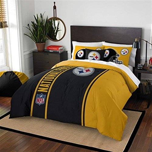 Pittsburgh Steelers Embroidered Full Comforter & Shams Set, NFL Boys 3 Piece Bedding by Northwest