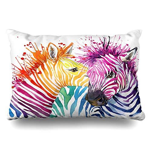 Ahawoso Throw Pillow Cover Pillowcase Funny Zebra Graphics Rainbow Splash Watercolor Watercol Decorative Pillow Case Home Decor Standard 20x26 Inches Cushion Case ()
